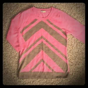 NY&CO Chevron Sweater Crew Neck Pink/Camel